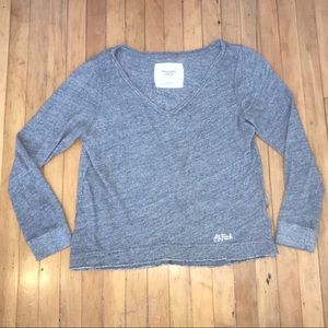 Abercrombie & Fitch Gray Loose Fit V-neck Sweater